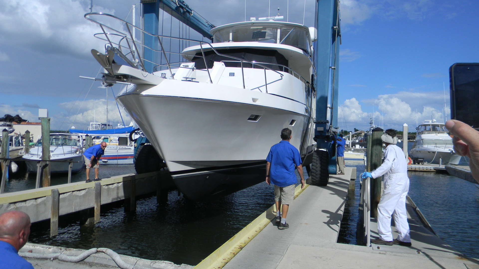 59 Symbol motor yacht hauling out for inspection