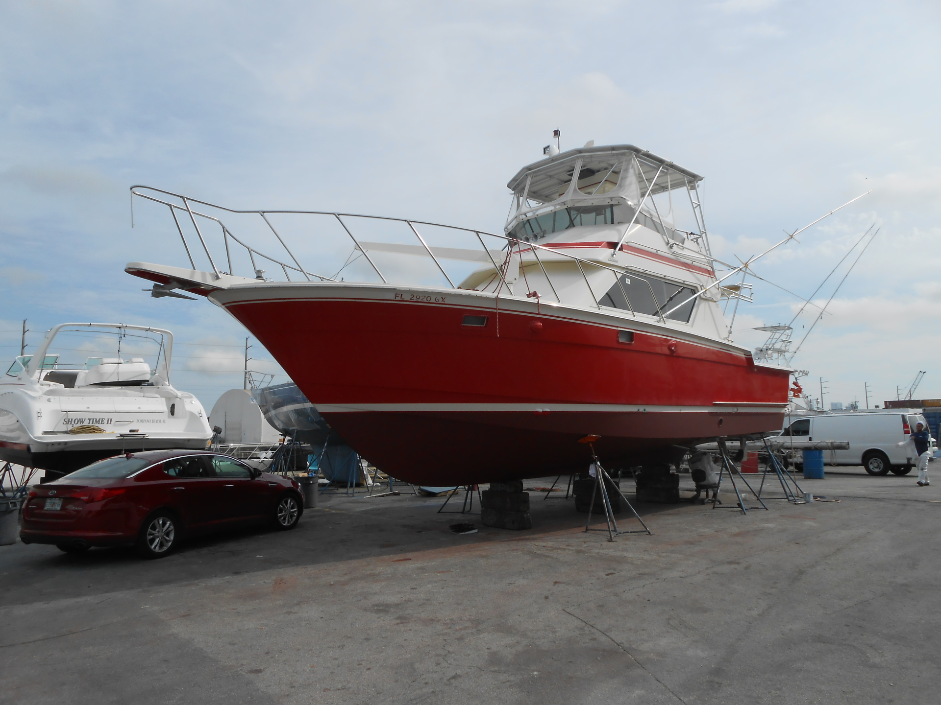 Red sport fishing boat .